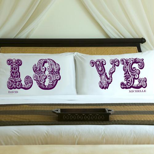 Personalized Whimsical Wine LOVE Connection Pillow Case Set