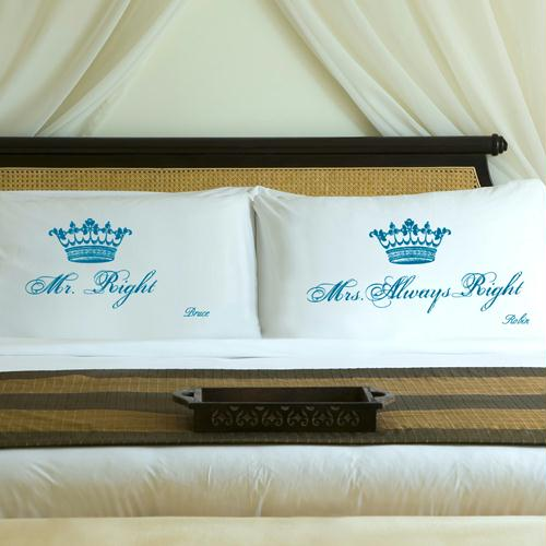 Personalized Blissful Blue Royal Correctness Pillow Case Set
