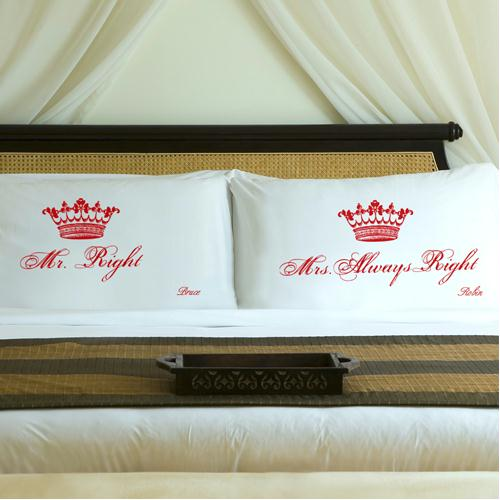 Personalized Romantic Red Royal Correctness Pillow Case Set