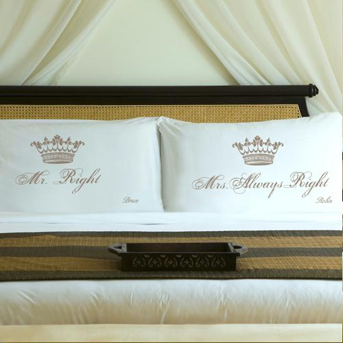 Personalized Shimmering Sand Royal Correctness Pillow Case Set