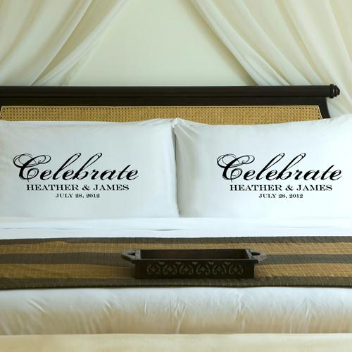 Personalized Midnight Black Celebrate Pillow Case Set