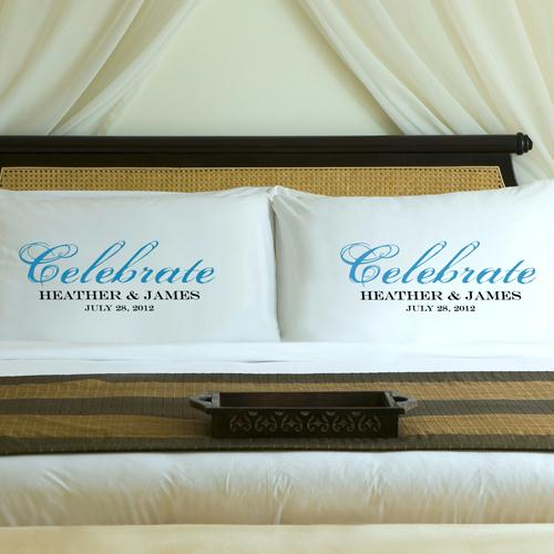 Personalized Topaz Blue Celebrate Couples Pillow Case Set