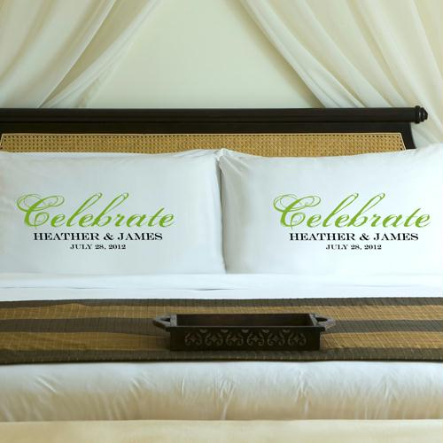 Personalized Fresh Green Celebrate Pillow Case Set