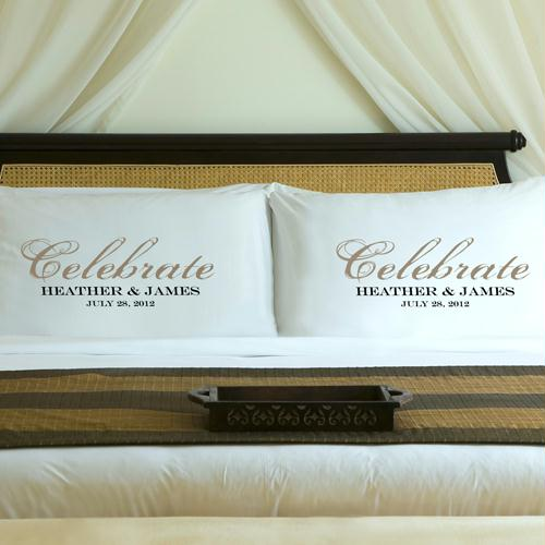 Personalized Shimmering Sand Celebrate Pillow Case Set