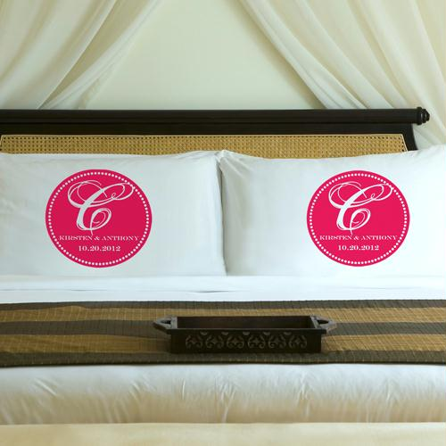 Personalized Pink Blush Magical Monogram Pillow Case Set