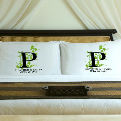 Personalized Fresh Green Nature's Bliss Pillow Case Set