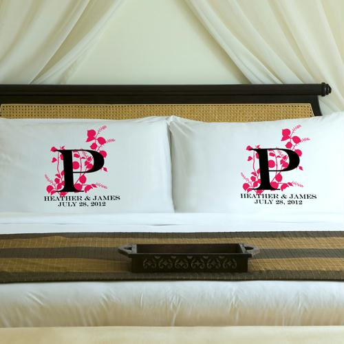 Personalized Pink Blush Nature's Bliss Pillow Case Set