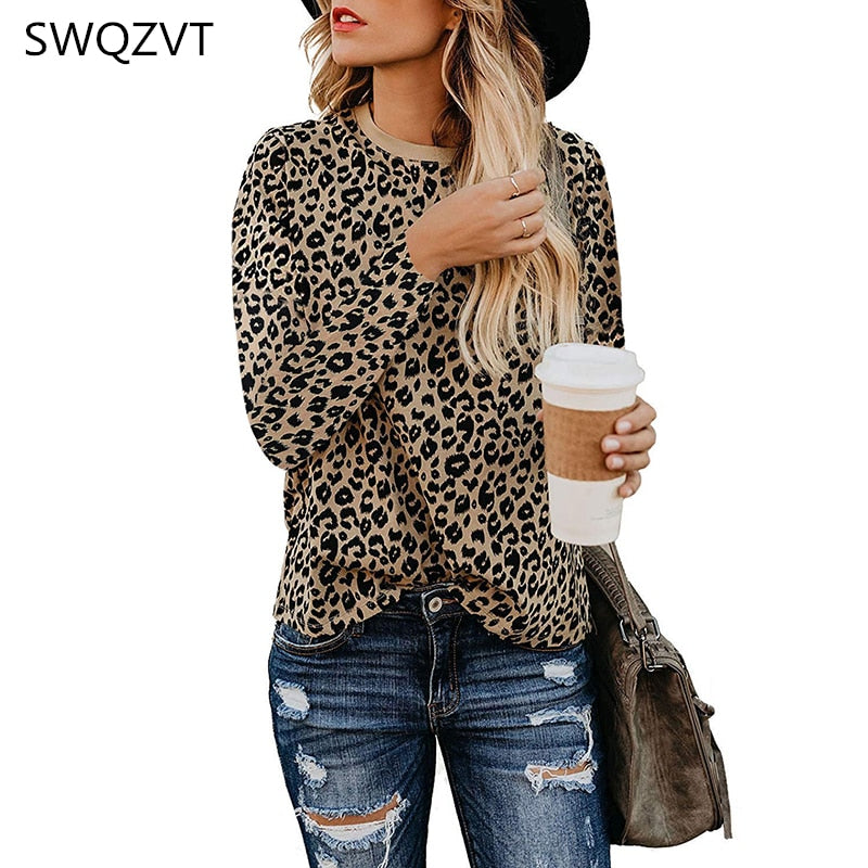 Leopard print women t shirt  2019 autumn winter o neck women tops casual long sleeve ladies tees  tops female clothes t shirt