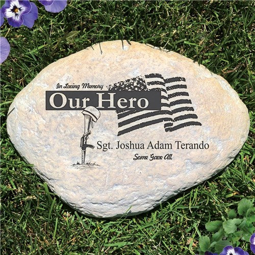 Personalized Military Memorial Garden Stone