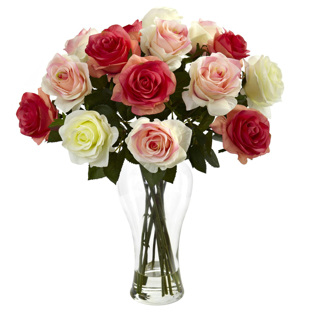 Assorted Blooming Roses w-Vase