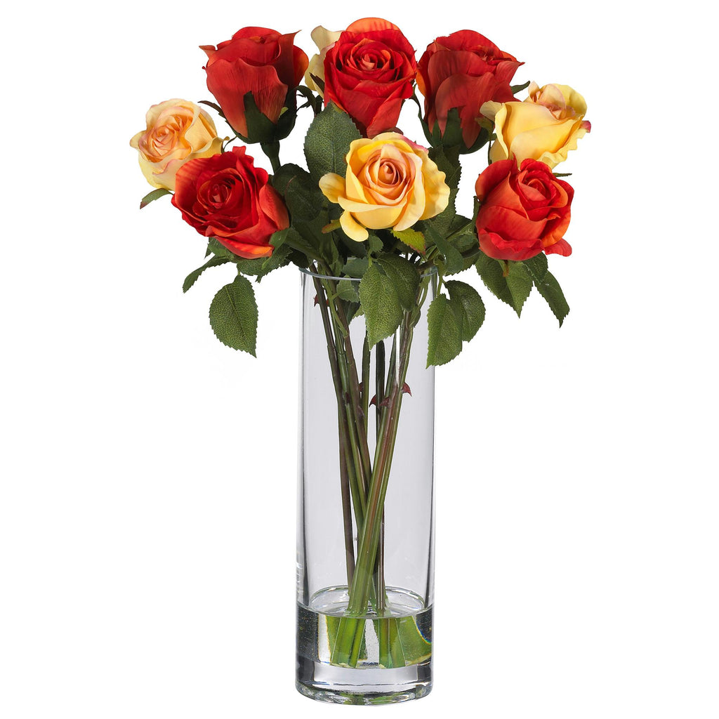Roses w-Glass Vase Silk Flower Arrangement