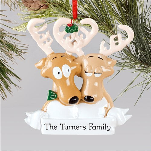 Personalized Reindeer Couples Christmas Ornament