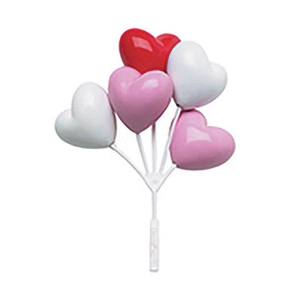 Valentines Day Red White Pink Heart Shaped Balloon Cluster Cupcake Pic & Cake Topper Decoration