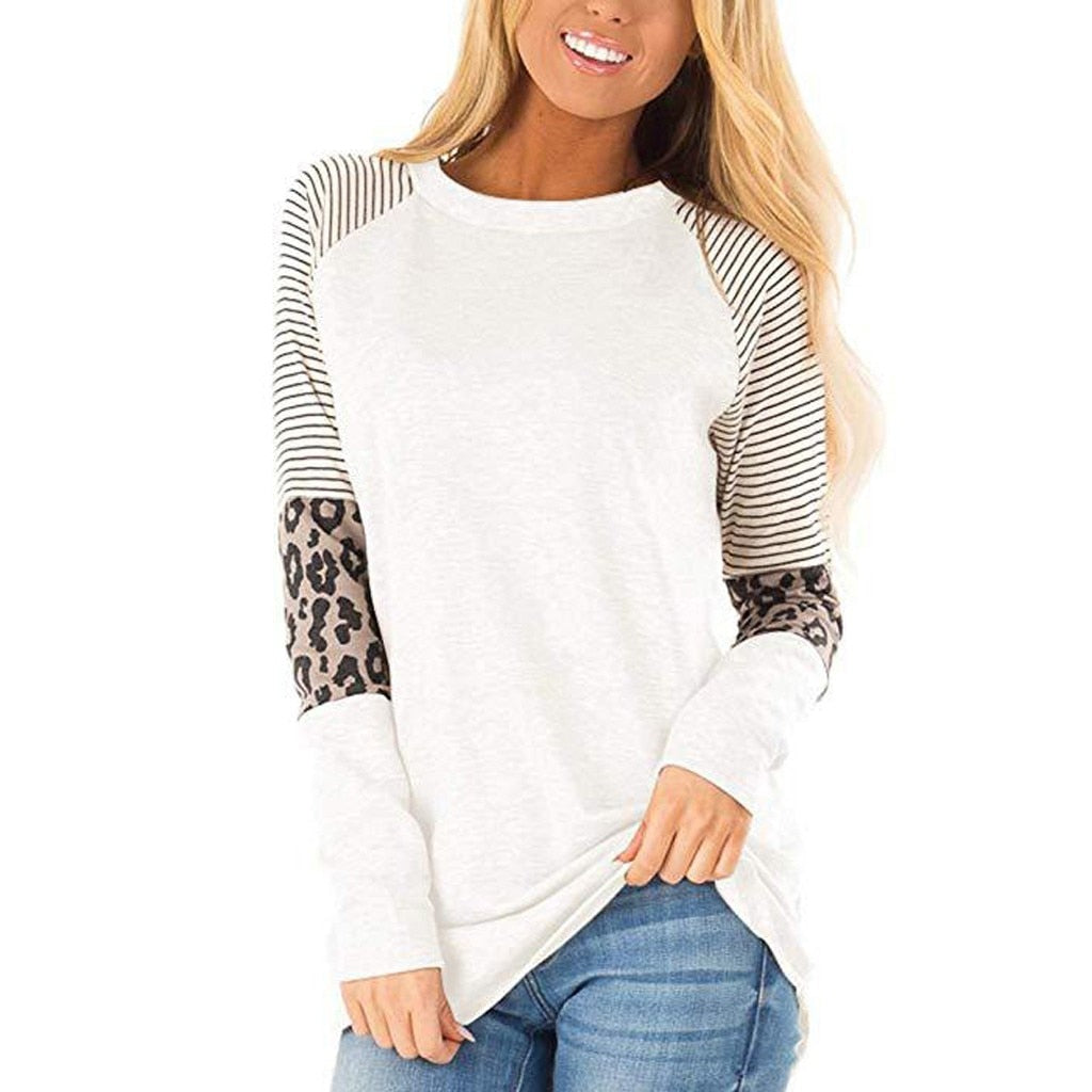 Women's Long Sleeved Leopard Shirt Stitching Round Neck O Collar Loose Casual Top
