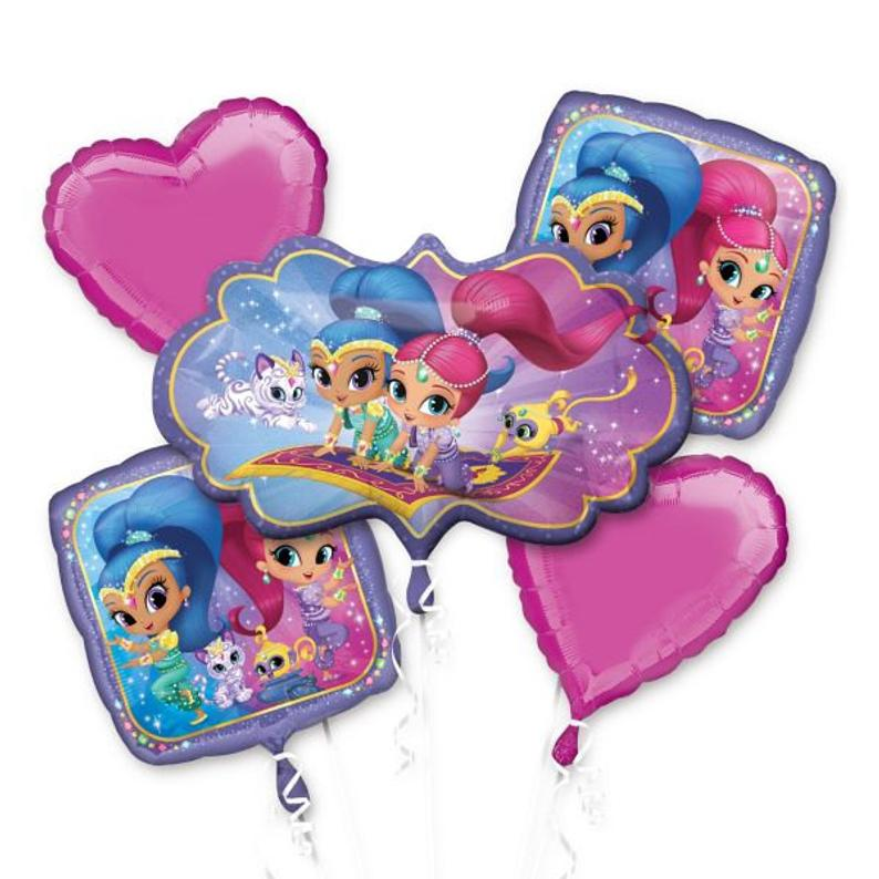 Shimmer & Shine Foil Mylar Balloon Bouquet 5 pc