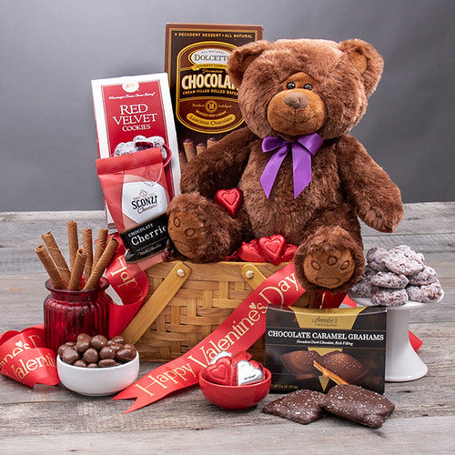 Valentines Day Gift Basket Teddy Bear Delights