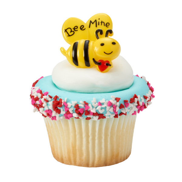 Valentines Day Bee Mine Cupcake Rings