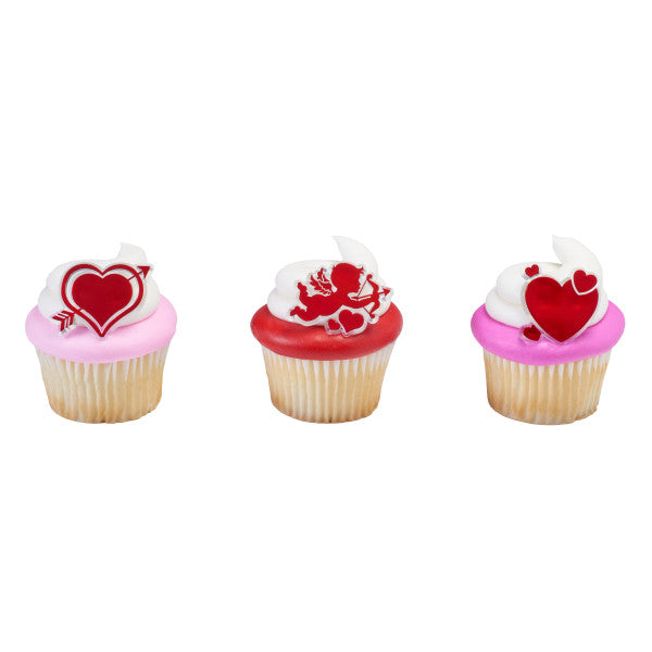 Valentines Day Cupid and Hearts Cupcake Rings