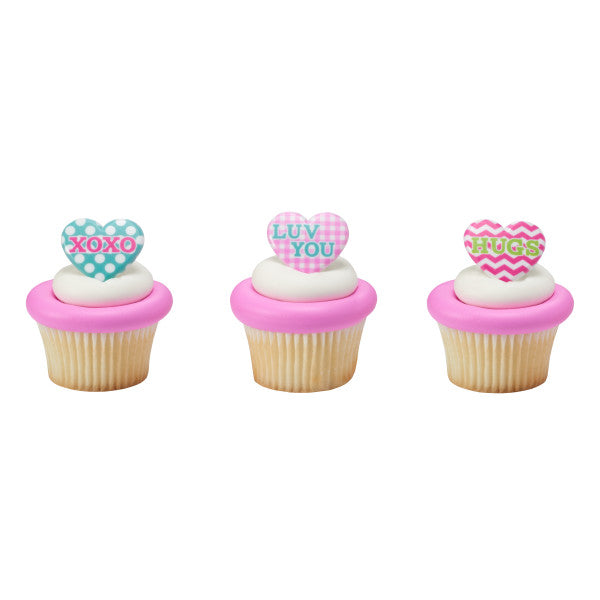 Valentines Day Pattern Hearts Cupcake Rings