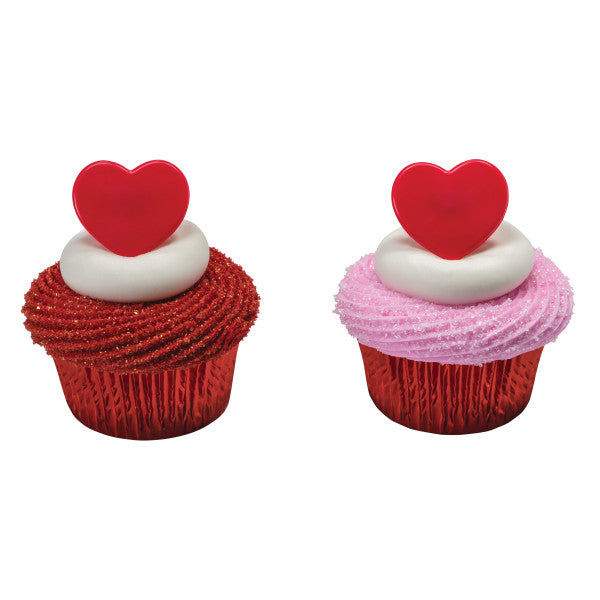 Valentines Day Red Heart Cupcake Rings