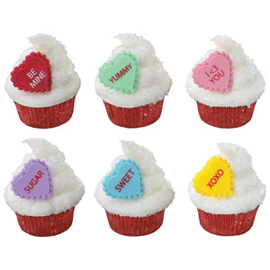 Valentines Day Sweet Talkers Hearts Cupcake Rings