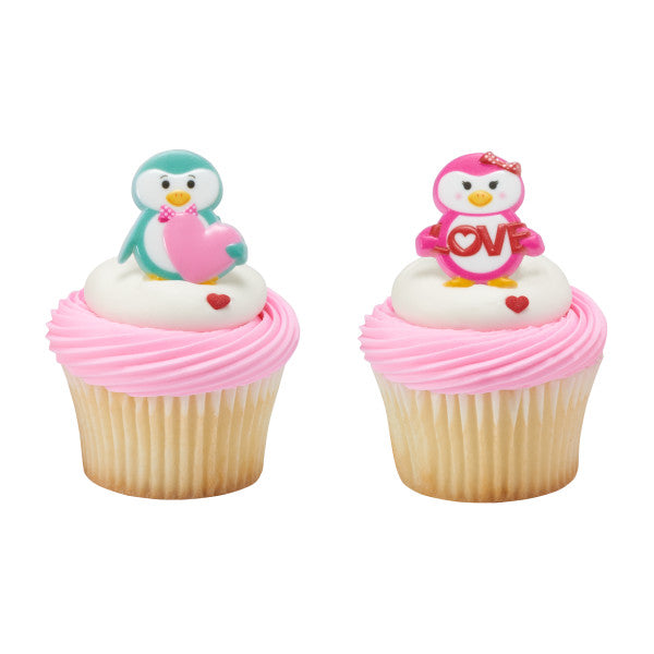 Valentines Day Penguins Cupcake Rings