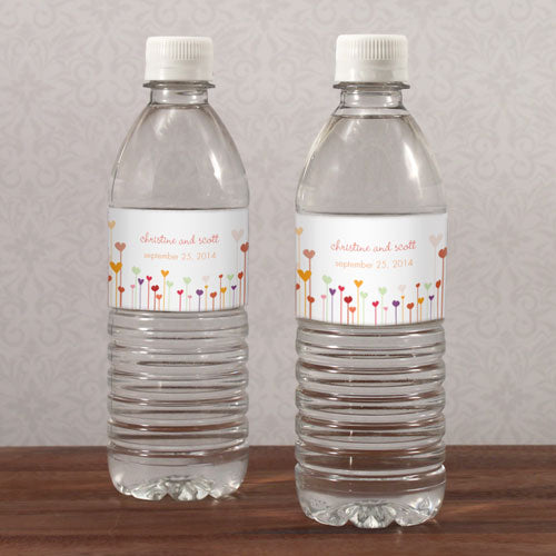 Hearts Water Bottle Label Cool (Pack of 1)