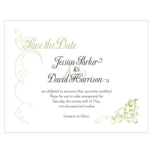 Heart Filigree Save The Date Card Grass Green (Pack of 1)