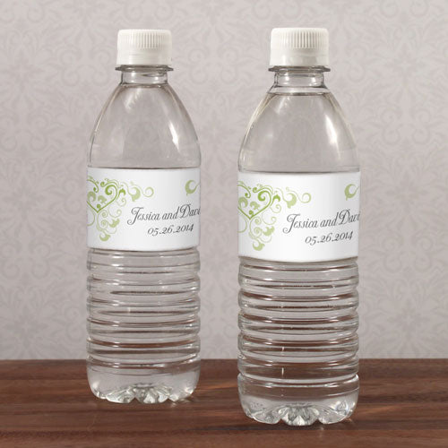 Heart Filigree Water Bottle Label Grass Green (Pack of 1)