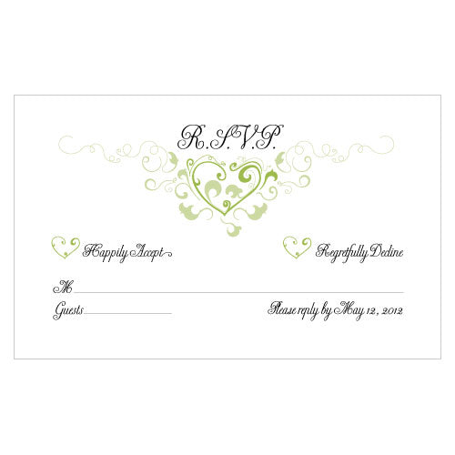 Heart Filigree RSVP Grass Green (Pack of 1)