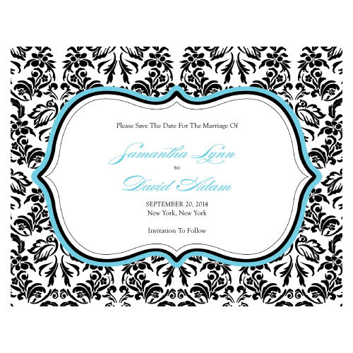 Love Bird Damask Save The Date Card Berry (Pack of 1)