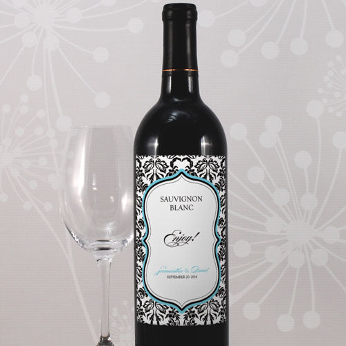 Love Bird Damask Wine Label Berry (Pack of 1)