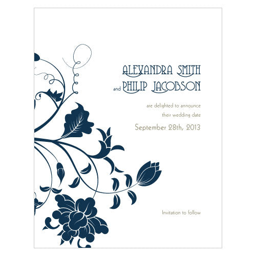 Floral Orchestra Save The Date Card Vintage Pink (Pack of 1)