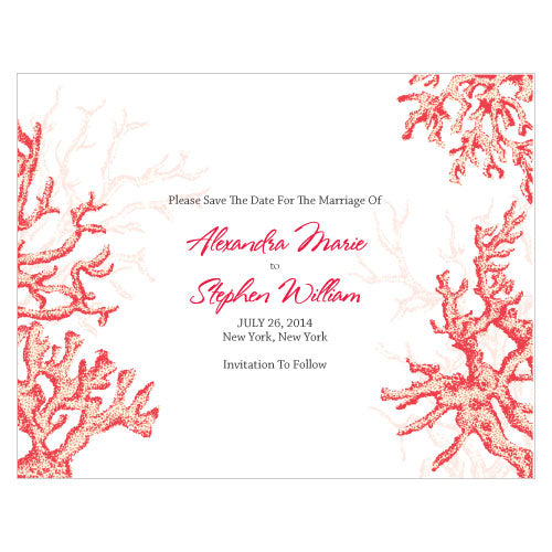 Reef Coral Save The Date Card Berry (Pack of 1)