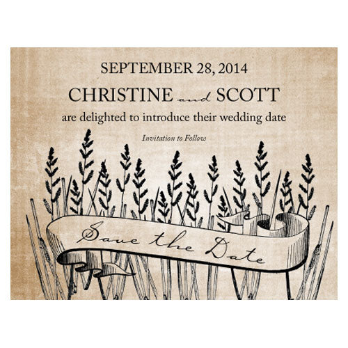 Rustic Country Save The Date Card Berry (Pack of 1)