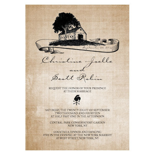 Rustic Country Invitation Berry (Pack of 1)