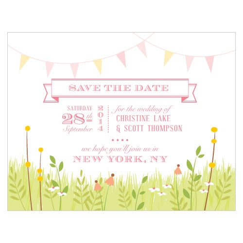 Homespun Charm Save The Date Card Sweet (Pack of 1)