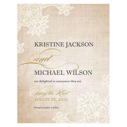 Vintage Lace Save The Date Card Berry (Pack of 1)