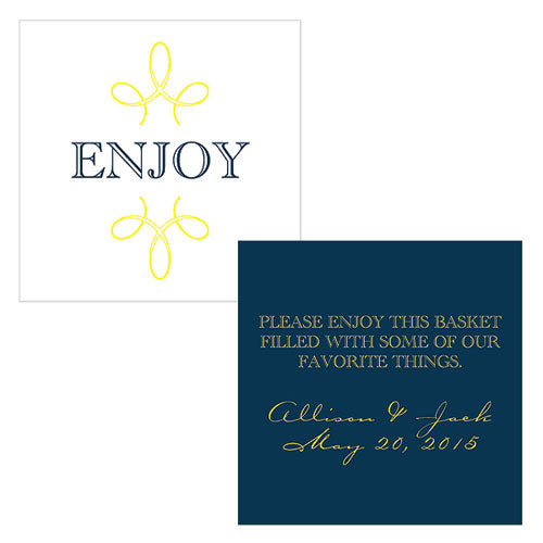 """Enjoy"" ""Thank you"" Square Tag Navy Blue (Pack of 1)"