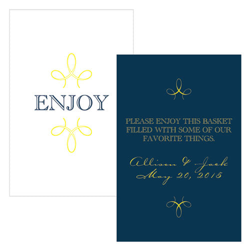 """Enjoy"" ""Thank you"" Rectangular Card Navy Blue (Pack of 1)"