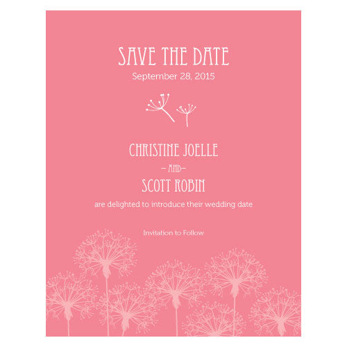 Dandelion Wishes Save The Date Card Berry (Pack of 1)
