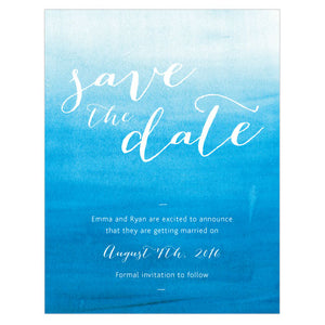 Aqueous Save The Date Card Bright Purple (Pack of 1)