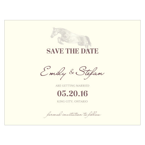 Equestrian Love Save The Date Card Vintage Pink (Pack of 1)