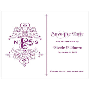 Fanciful Monogram Save The Date Card Indigo Blue (Pack of 1)