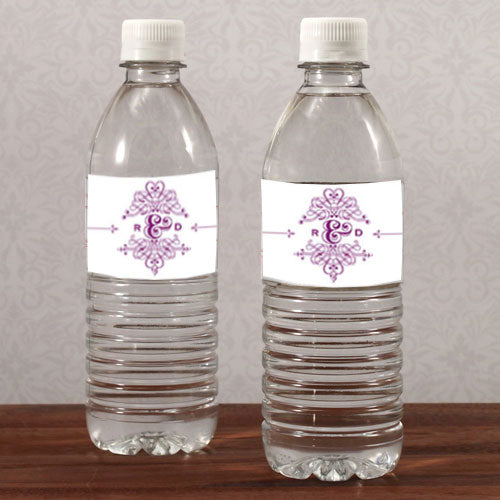 Fanciful Monogram Water Bottle Label Indigo Blue (Pack of 1)