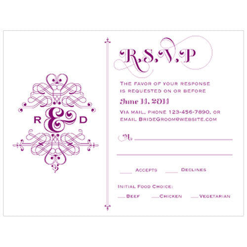 Fanciful Monogram RSVP Indigo Blue (Pack of 1)