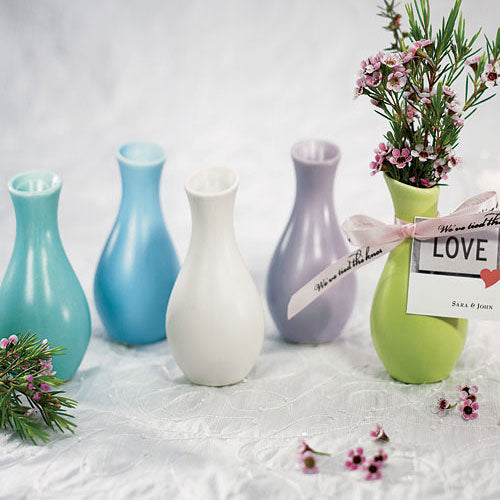 Mini Bud Vase Wedding Favor (6) White Ice (Pack of 6)