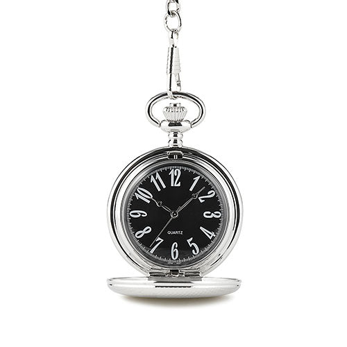 Personalized Pocket Watch and Fob - Textured Silver (Pack of 1)