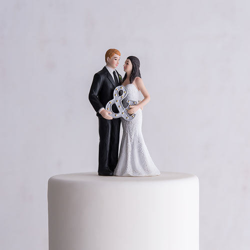 Mr. & Mrs. Porcelain Figurine Wedding Cake Topper With Ampersand (Pack of 1)