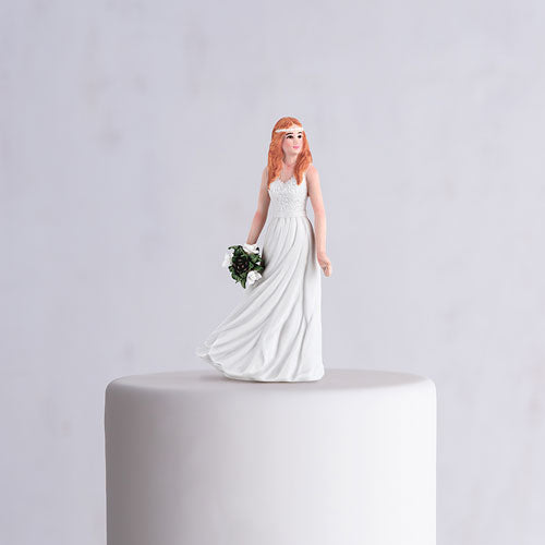 Trendy Bride Porcelain Figurine Wedding Cake Topper (Pack of 1)